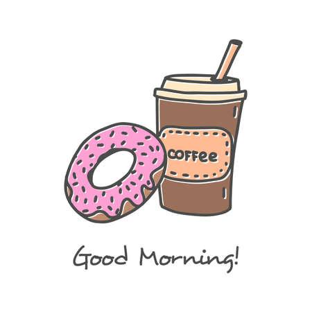 glazed: Hand drawn Coffee icon set