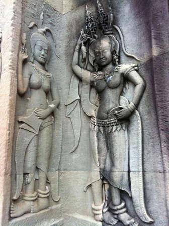 apsara: Apsara sculpture at the Angor wat, Cambodia
