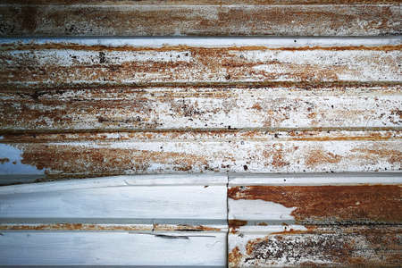 Background of Rusted metal wall, Vintage texture, horizontal pattern