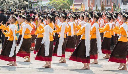 dun: Dance of Buddhist worship. Phra That Na Dun  February 20, 2016 Mahasarakham, Thailand.
