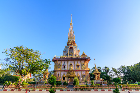 Pagoda with blue sky in wat Chalong or Chalong temple in Phuket Thailand,