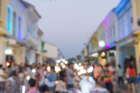 Defocus, blur picture of Phuket old town, street market on sunday in Phuket Thailand.