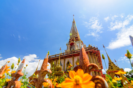 Pagoda in Wat Chalong or Chalong temple in Phuket Thailand.