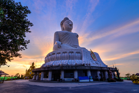 Big buddha in Phuket Thailand wiht sunset and color of sky 写真素材