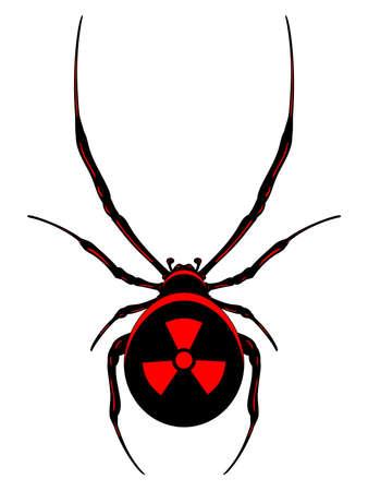 黒い核クモが赤シンボル。分離されたベクトル。