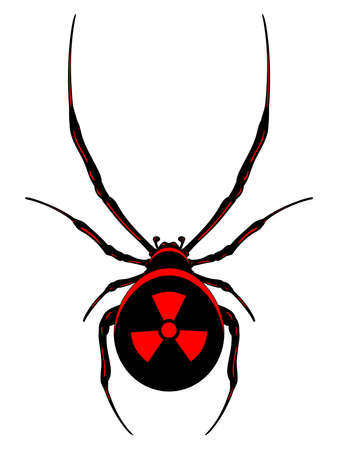 nuclear fear: Black nuclear spider with red symbol.Vector isolated.