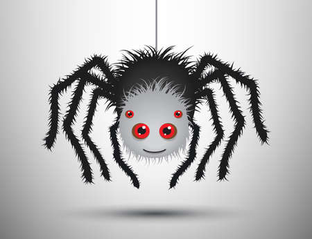 loathsome: Black spider isolated. Vector spider. Black widow. Isolated spider. Icon shadow. Spider background.