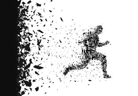 divergent: Vector sprinter. Breakthrough. Particles composed runner. Running man abstract silhouette.