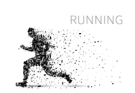 composed: Vector sprinter. Particles composed runner. Running man abstract silhouette. Illustration