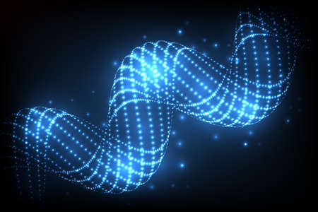 whirl: Abstract glowing spiral. Vector particles lights. Abstract dark background.