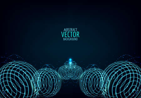 Abstract glowing ball. Vector particles lights. Abstract dark background. Neon spiral ball.