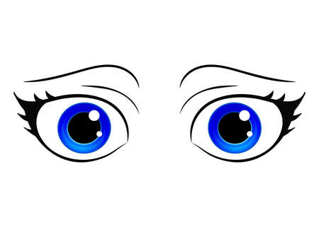 manga style: Vector eyes. Cartoon style female eye. Colorful bright eyes. Anime manga style hand drawn girl eyes. Vector isolated.