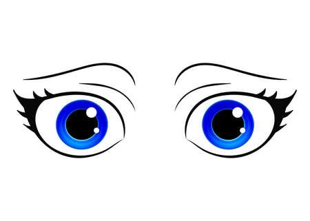 Yeux de vecteur. Oeil féminin de style dessin animé. Yeux brillants colorés. Yeux de fille dessinés à la main style manga anime. Vecteur isolé.