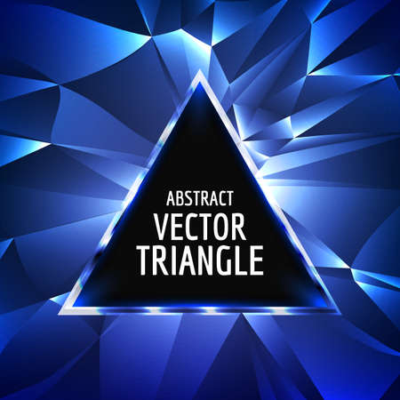 triangle: Vector abstract triangle background. Glowing neon triangle vector. Glossy triangle abstract.With space for text. Illustration