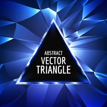 tri�ngulo: Vector de tri�ngulo de abstracci�n de fondo. Ne�n brillante tri�ngulo vectorial. brillante tri�ngulo espacio abstract.With para el texto.