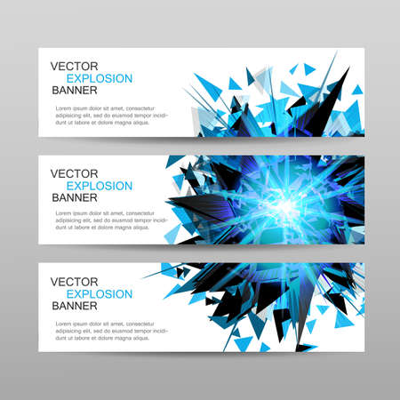 devil ray: Set of banners.Blue abstract explosion banner.Design template.Blue glowing lights banner.