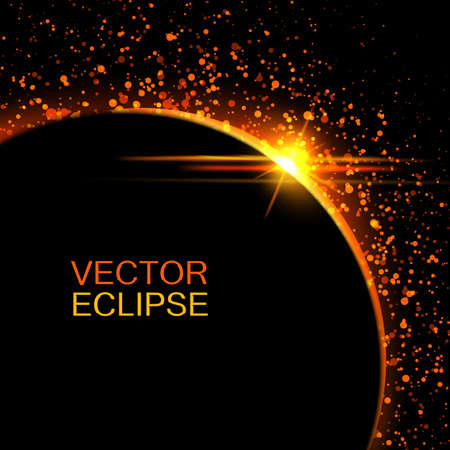 over the moon: Vector solar eclipse.Sun eclipse in space background.Abstract sun after the moon. Vector eclipse backdrop.Cosmic background.