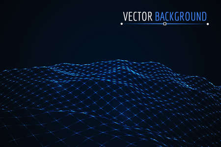 terrain: Glowing blue grid landscape. Vector techno background.
