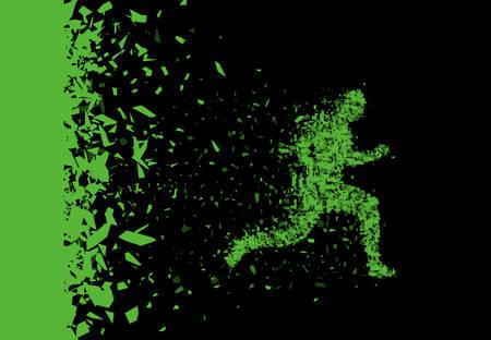 Vector Sprinter. Durchbruch. Teilchen zusammengesetzt Läufer. Laufender Mann abstrakte Silhouette.