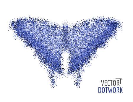 Mariposa del vector. Concepto abstracto. Mariposa de puntos. Las partículas compuestas.