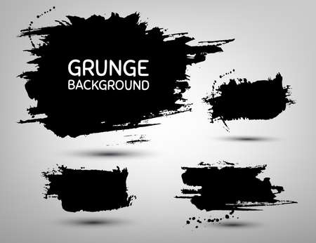 grunge banner: Set of abstract grunge blob background. Vector grunge shape. Vector abstract banner. Black grunge watercolor splatter. Hand drawn ink blob element. Illustration