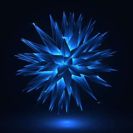 3D Spiked object. Blue abstract star. Vector illustration