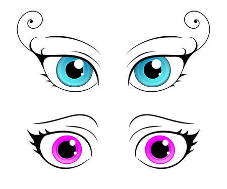 bright eyes: Cartoon style female eye. Colorful bright eyes. Vector isolated. Illustration