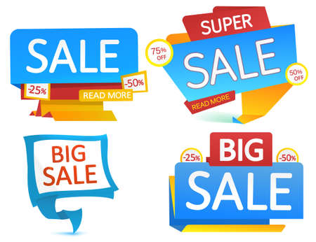 room accent: Set of blue SALE banners. Vector design.
