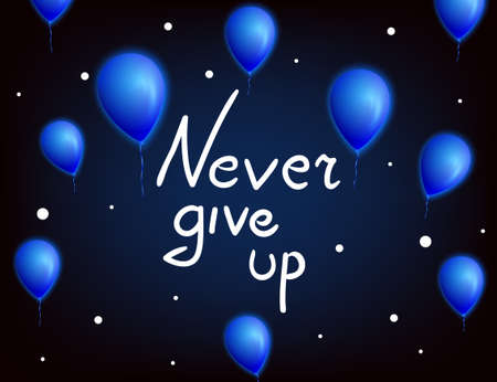 give hand: Never give up .Vector calligraphic inspirational design. Hand drawn vector element. Motivation quote for t-shirt, flyer, poster, card.