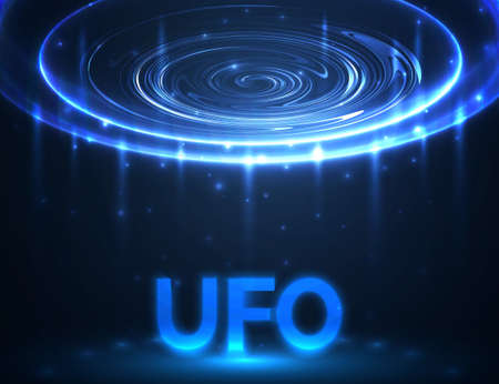 area 51: Vector UFO. Light in dark. Blue glowing. Space. Abstract alien background. Illustration