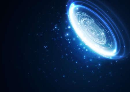 サークルの青いラインと光の効果。抽象的な背景。ベクトル グラフィック デザイン。