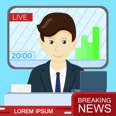 anchorman: Anchorman in the TV studio. Breaking News announcement broadcast, speaker. Vector flat style design. Illustration