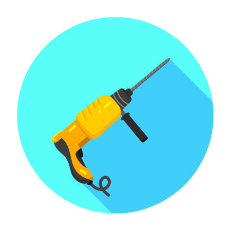 hand drill: Electric hand drill flat icon. Repair tool. Vector graphic design