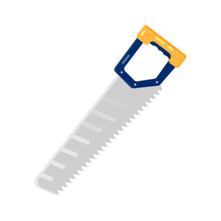 crosscut: Hand saw, flat icon, isolated. Vector design
