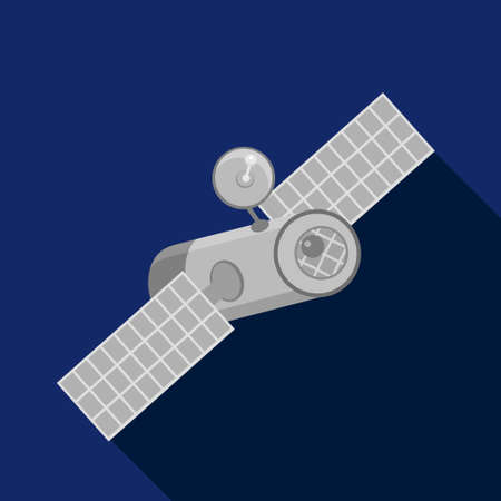 sputnik: Sputnik, earth satellite in space , flat icon. Vector design