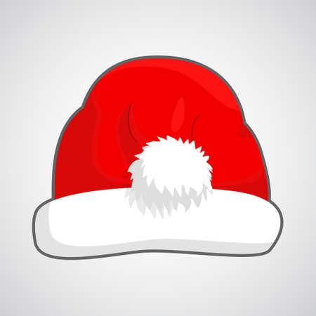 fur cap: Christmas red hat. Vector illustration.