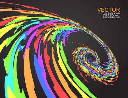 Vector. Rainbow colourful swirl on dark background. Illustration