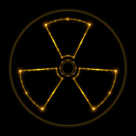 fission: Radiation sign, glowing lines. Vector