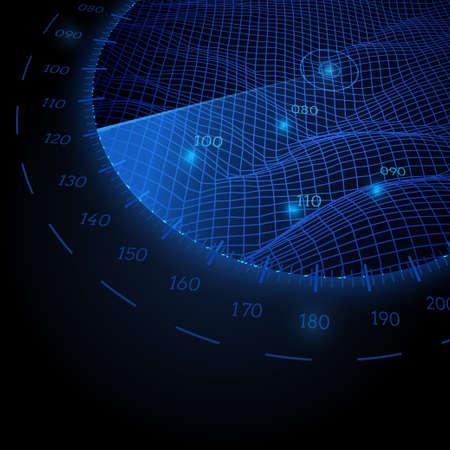 レーダー画面の黒の背景上の観点でのラウンドします。ベクトル図