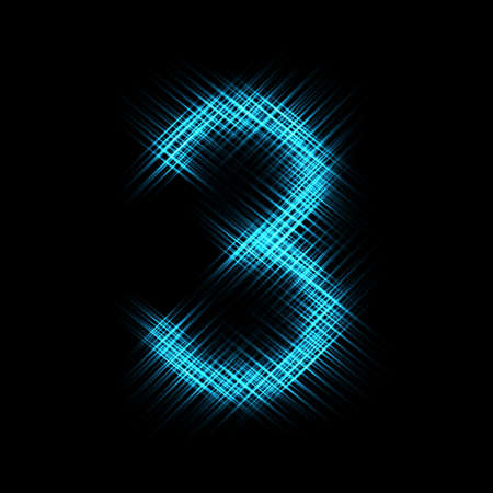Number 3, abstract light on dark background. Vector illustration.