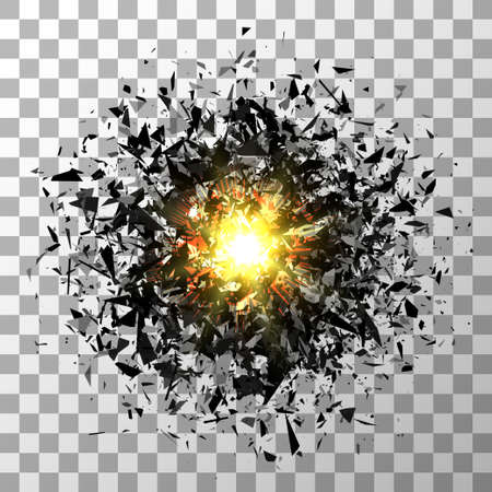 Abstract black explosion. Vector isolated on transparent.
