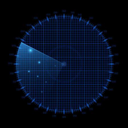 Radar round screen, isolated on black. Vector illustration Illustration