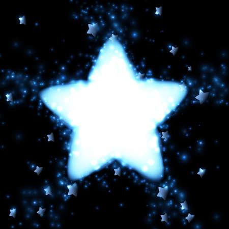 明るい星の背景を飛んでいます。ベクトルの図。