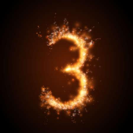 分離されたリアルな火災の数です。ベクトルの図。