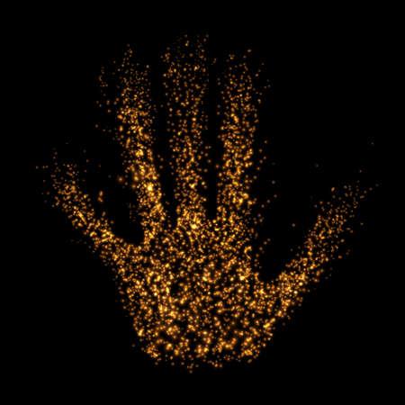 光の粒子、3 D アームから抽象的な手。ベクトルの図。