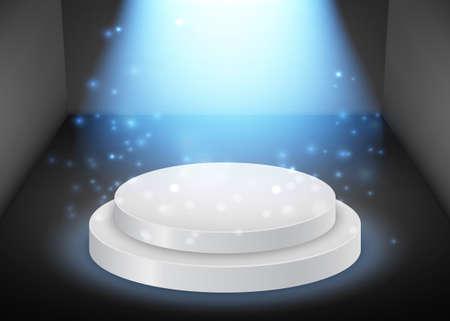 Vector round podium with glowing beam background. Иллюстрация