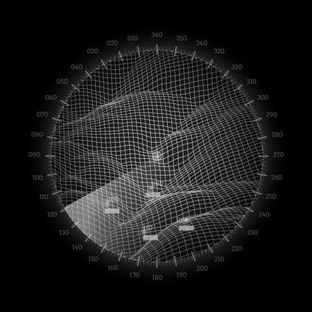 Radar round screen, isolated on black. Vector illustration.