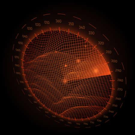 レーダー画面の黒の背景上の観点でのラウンドします。ベクトルの図。  イラスト・ベクター素材