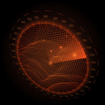 Radar round screen in perspective, on black background. Vector illustration. Illustration
