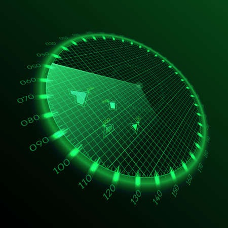 Radar round screen in perspective, on black background. Vector illustration